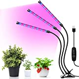 MINGER Grow Light, LED Plant Light for Indoor Plants, UV Grow Lamp with 3/9/12H Timer, 3 Dimmable Modes, 30W Red/Blue Spectrum LED, 3-Head Adjustable Gooseneck Auto On/Off Growing Light