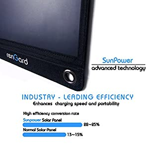 RenGard 18W Ultra-efficient Solar Panel Phone Battery Charger for Smartphones & Tablets:Android, iPad, iPhone, Galaxy etc.- Dual USB port; 3 Panels; Portable Foldable - for areas with no power supply