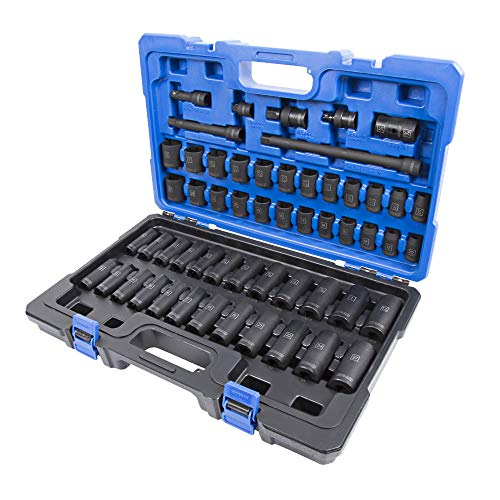 Kobalt 856843 55-Piece 1/2-Inch Drive Deep and Shallow Impact Socket Set, Inch/Metric