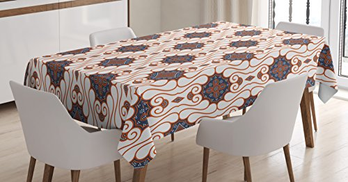 (Batik Decor Tablecloth by Ambesonne, Retro Boho Traditional Indonesian Insp?red Spouted Liquid Flowing Colored Art, Dining Room Kitchen Rectangular Table Cover, 60W X 90L Inches, Brown Beige)