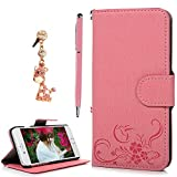 Image of iPhone 6S Plus Case,iPhone 6 Plus Case Wallet Case Kickstand 3D Embossed Floral Bird PU Leather Flip Case & Magnetic Clip ID/Credit Card Holders Diamond Dust Plug Stylus Pen by Badalink - Pink