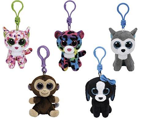 Bundle Set of 5 Clips Key Chain Plush Toys Black White Dog, Brown Monkey, Blue Green Leopard, Pink Cat, and Grey Husky with Bonus One Animal Puzzle Eraser