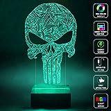 CMLART Handmade The Punisher Skull Logo 3d Lamp RGB Full Color 44 Key Remote control LED Night Light Best Gift Desk Table Lighting Home Decoration Toys