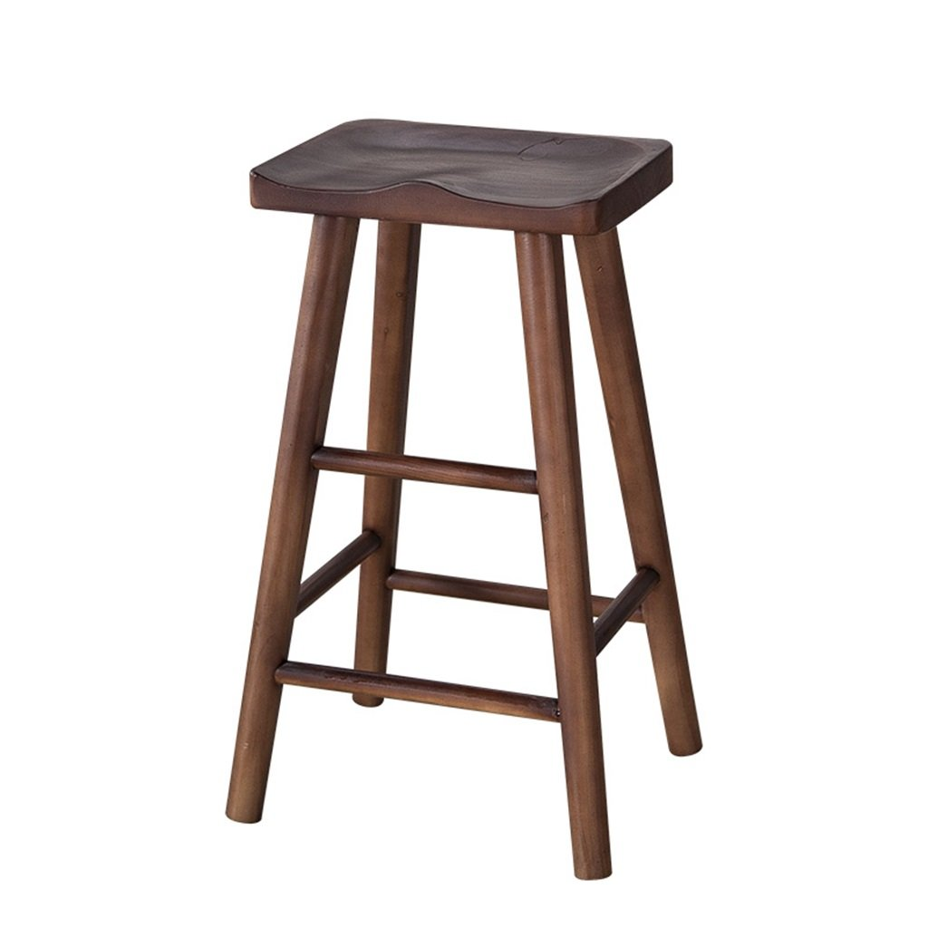 BROWN 75CM Barstools Chair Bar Stool High Stool Breakfast Chair Restaurant and Wooden Seat Rectangle Kitchen Breakfast Counter Greenhouse Cafe Bar Bearing 150 kg (color   Natural, Size   75CM)