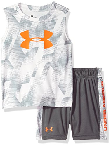 Under Armour Boys' Little UA Muscle Tank and Short Set, White, 6 (Under Armour For Kids)