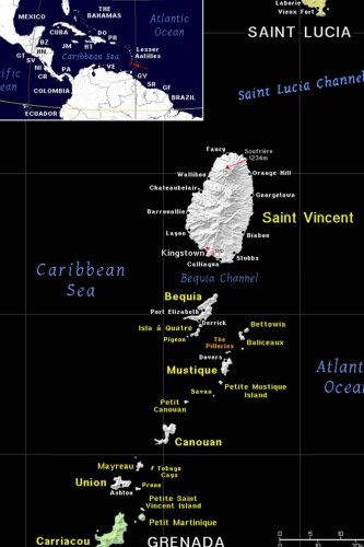 Modern Day Color Map of Saint Vincent and the Grenadines Journal: Take Notes, Write Down Memories in this 150 Page Lined Journal