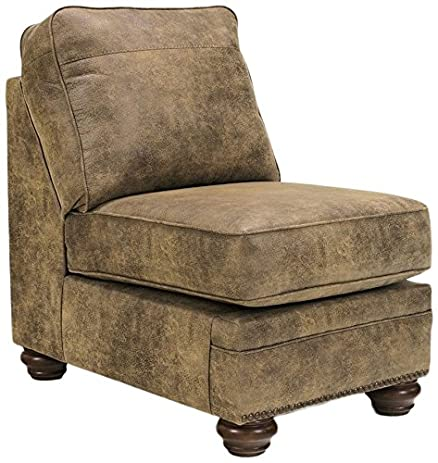 Ashley Furniture Signature Design   Larkinhurst Traditional Armless Chair    Faux Weathered Leather Couch   Earth