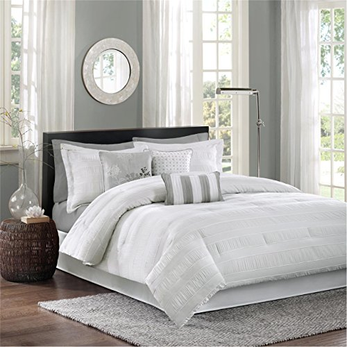 (Madison Park Hampton King Size Bed Comforter Set Bed in A Bag - White, Jacquard Pleated Stripes - 7 Pieces Bedding Sets - Ultra Soft Microfiber Bedroom Comforters )