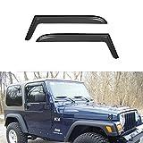 VioletLisa New 2pcs for 97-06 Jeep TJ Wrangler Dark Smoke Out-Channel/Outside Mount Style Wind Sun Rain Guard Vent Shade Deflector Window Visors