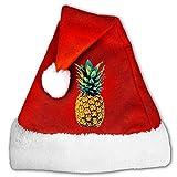 FunnyLaury Retro Pineapple Tropical Santa Hat Velvet Christmas Hat