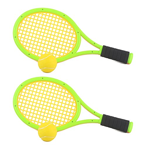 (FenglinTech One Set of Elastic Tennis Racket Children's Outdoor Sports Toys - Green)