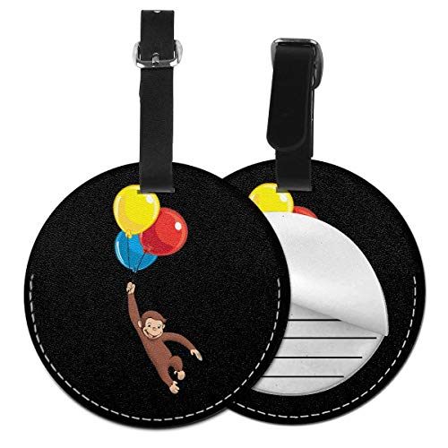 Round Leather Luggage Tags Curious George Name ID Labels For Travel Suitcase Baggage Bag Set Of 2
