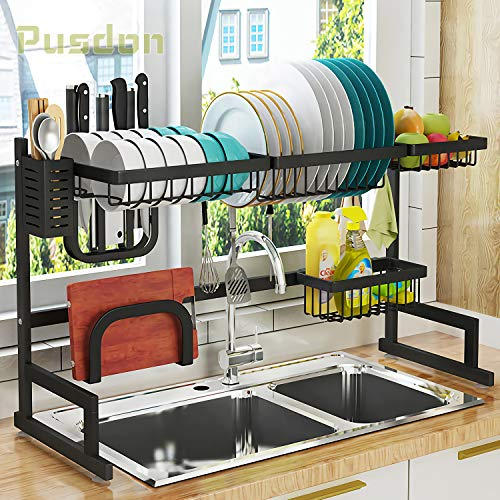 Dish Drying Rack Over Sink, Drainer Shelf for Kitchen Supplies Storage Counter Organizer Utensils Holder Stainless Steel Display- Kitchen Space Save Must Have (Sink size ≤ 32 1/2 inch, black) ()