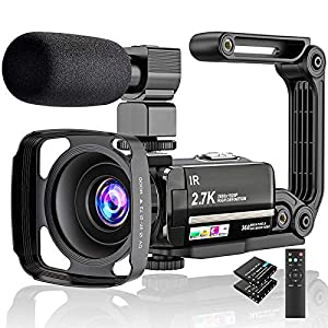 """Flashandfocus.com 51o1v1RGFWL._SS300_ Video Camera 2.7K Camcorder Ultra HD 36MP Vlogging Camera for YouTube IR Night Vision 3.0"""" LCD Touch Screen 16X Digital Zoom Camera Recorder with Microphone Handheld Stabilizer Remote Control"""