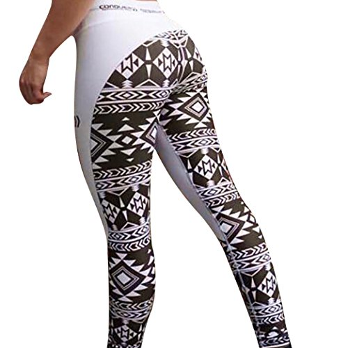Leggings, Women Sexy Skinny High Waist Yoga Fitness Sports Print Ankle-Length Pants (White, - Female For Best Shape Face