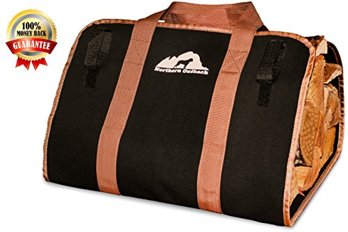 - Northern Outback SUPERSIZED Firewood Log Carrier 16oz Canvas Wood Tote! - Best for Fireplaces - Wood Stoves - Firewood - Logs - Camping - Beaches - Landscaping!