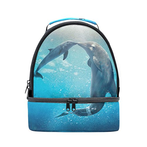 GIOVANIOR Kiss Dolphin Tale Pattern Lunch Bag Insulated Lunch Box Picnic Bag School Cooler Bag for Men Women Kids