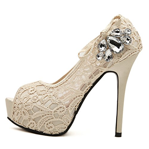 fereshte Womens Spring Autumn Lace Shoes Sexy Peep-Toe Stiletto High Heels Pumps Diamond Bowknot For Wedding Nightclub Apricot MSKiZ5oNW