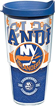 Tervis 1164792 NHL New York Islanders Core Tumbler with Wrap and Blue Lid 24oz, Clear