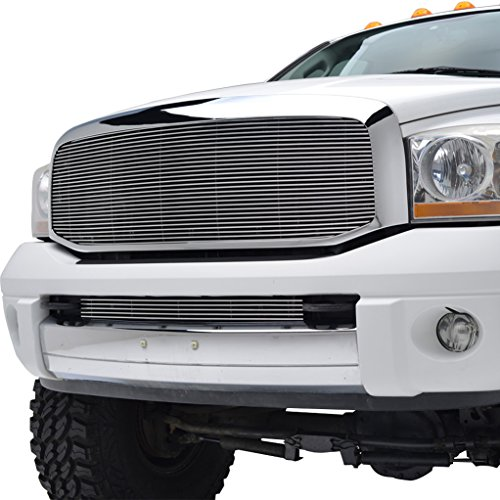 E-Autogrilles 06-08 Dodge Ram 1500/07-09 Dodge Ram 2500/3500 Polished Aluminum Replacement Billet Grille with ABS Shell and Bumper Grille Combo (42-5110)