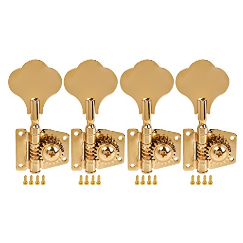 Kmise 5 String Bass Electric Guitar Tuners Tuning Pegs Keys Machine Heads Open Gear 4R1L Gold 1 Set (MI1511) from Kmise