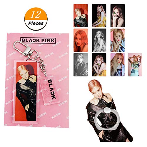 Youyouchard Kpop Blackpink Kill This Love Postcards LOMO Cards Stickers+Keychain Keyring+Phone Stand Holder for Cell Phones and Small Screen Tablets(Rose)