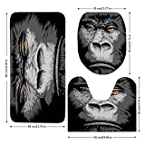 3 Piece Bathroom Mat Set,Modern,Close Up Gorilla Portrait with Orange Eyes Zoo Jungle Animal Wild Money Graphic,Grey Marigold,Bath Mat,Bathroom Carpet Rug,Non-Slip