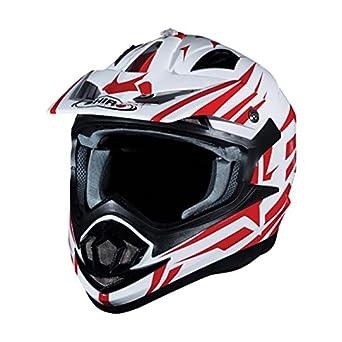 Shiro MX de 734 Bravo Motocross Casco – Red de White