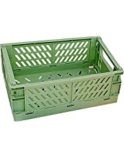 Xuanmuque Collapsible Plastic Storage Baskets for Organizing with Handle, Crate Bin for Desk Bedroom Office Bedroom, 9.8''L x 6.5''W x 3.8''H