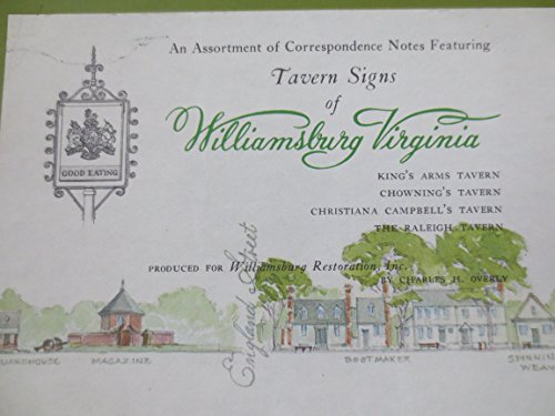 - An Assortment of Correspondence Notes Featuring Tavern Signs of Williamsburg, Virginia -- 8 note cards -- 4.5