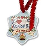 Add Your Own Custom Name, I Love You ThaI Love Letter from Tailand Christmas Ornament NEONBLOND