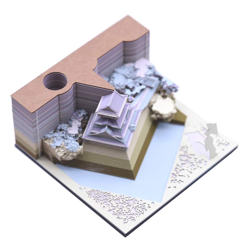 DIY Note Paper Art Building Block 3D Stickers Notes Memo Pads Convenience Sticky Papers Card Craft Creative Post Notes (Kokura Castle Blue)