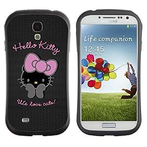 LASTONE PHONE CASE / Suave Silicona Caso Carcasa de Caucho Funda para Samsung Galaxy S4 I9500 / Bowtie Pink Character Black