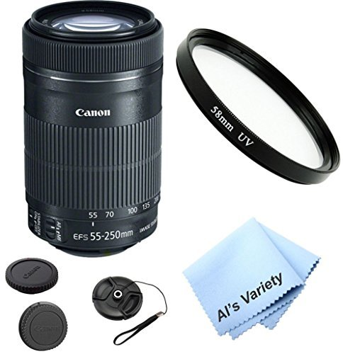 Canon EF-S 55-250mm f/3.5-5.6 IS STM Zoom Lens Bundle (White Box)- International Model