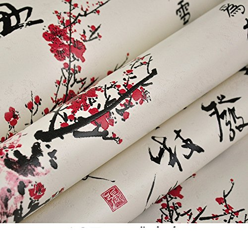 (DXG&FX Chinoiserie Wallpaper Calligraphy Wallpaper Pattern Poems Teahouse Neoclassical Style Wallpaper-B)