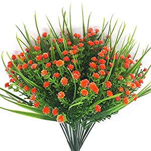 CATTREE Artificial Plants, 4pcs Faux Baby's Breath Fake Small Flowers Gypsophila Shrubs Simulation Greenery Bushes Wedding Centerpieces Table Floral Arrangement Bouquet Filler - Orange 1