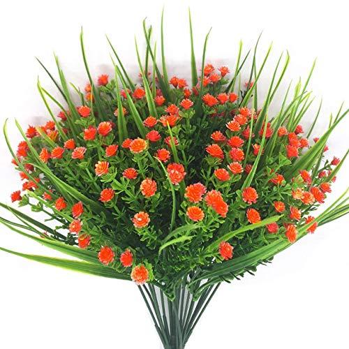CATTREE Artificial Plants, 4pcs Faux Baby's Breath Fake Small Flowers Gypsophila Shrubs Simulation Greenery Bushes Wedding Centerpieces Table Floral Arrangement Bouquet Filler - Orange