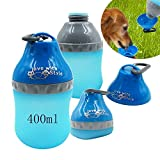 Portable Silicone Folding Pets Bowl Travel Outdoor Collapsing Water Feeding Bottles Kettle with Carabiner Clip for Dogs Cats puppy kitten (Blue)