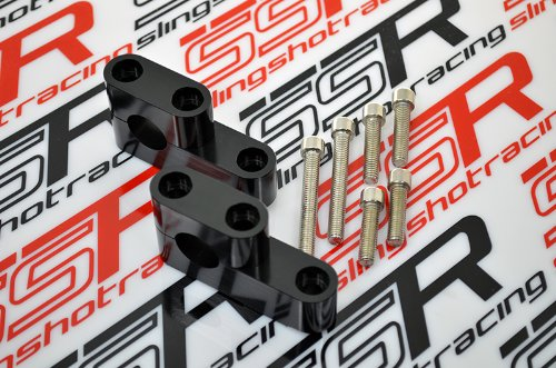 Black Honda GROM / MSX125 Billet Aluminum Handlebar Bar Lift Risers Mounts Spacer - Billet Aluminum Handlebar Clamps
