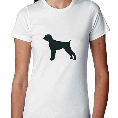 German Wirehaired Pointer Dog Simple Silhouette 100% Women's Cotton T-Shirt