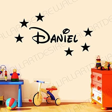 DISNEY STYLE PERSONALISED NAME & STARS BEDROOM VINYL WALL ART DECAL STICKER 14 COLOURS AVAILABLE ***PLEASE MESSAGE US WITH NAME *** (BLUE, 20 CM X 60 CM) by WALL ART DESIRE Wall Art Desire®