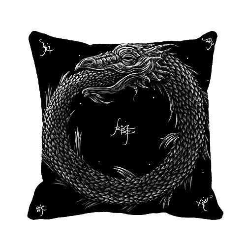 Awowee Throw Pillow Cover Ages Snake Uroboros Alchemy Animals Black Book Cells Conveyor 16x16 Inches Pillowcase Home Decorative Square Pillow Case Cushion Cover