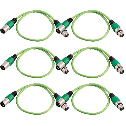Grindhouse Speakers - LEXLR-2Green-6Pack - 6 Pack of 2 Foot Green XLR Patch Cables - 2 Foot Microphone Cables Mic Cords by Grindhouse Speakers