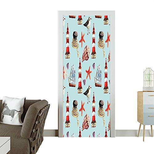 - Homesonne Modern Art Door Sticker Nautical Pattern Sail Rope Shell Lighthouse Underwater Life Sailer Environmentally Friendly decorationW23 x H70 INCH