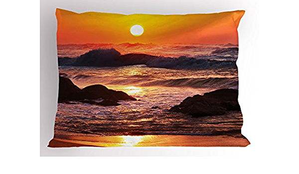 Ambesonne Ocean Pillow Sham Big Waves In A Stormy Sea Hits To The Rocky Shore At A Sunset Picture Decorative Standard Size Printed Pillowcase 26 X 20 Orange Dark And Brown Home Kitchen