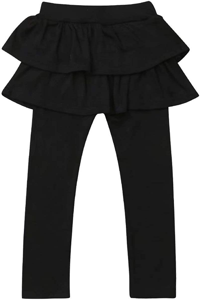 LXXIASHI Kids Toddler Baby Girl Solid Color Ankle Length Ruffle Tiered Leggings Pants Knitted Outfit Clothes