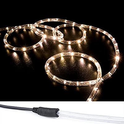 WYZworks Warm White PRE-ASSEMBLED LED Rope Lights - 2 Wire Christmas Holiday Decoration Indoor / Outdoor Lighting | UL & CSA Certified