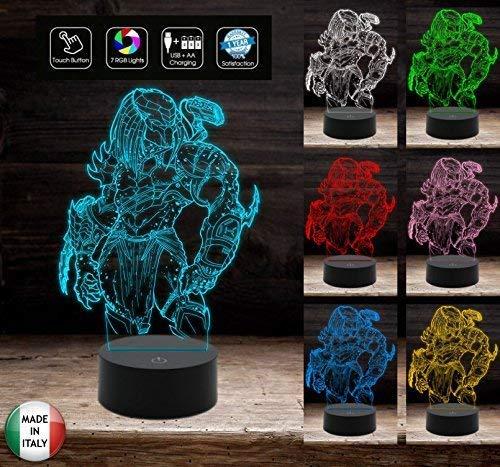 PREDATOR Action figure Lampada da scrivania 7 colori selezionabili a led Idea regalo ottima per compleanno per bambino da tavolo o scrivania Luce notturna Night Light