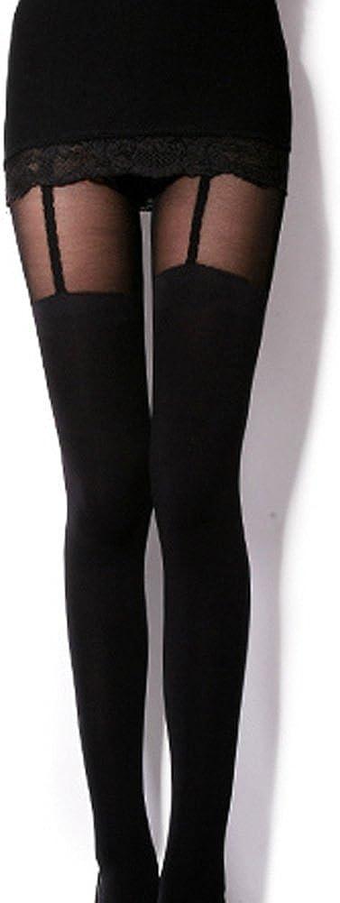 Kitten Print Knee High Length Socks CAT Tail Tattoo Tights Pantyhose Stockings Amour S, Fake Garters