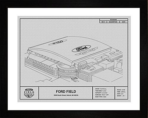Detroit Lions Ford Field Framed Blueprint Wall Art